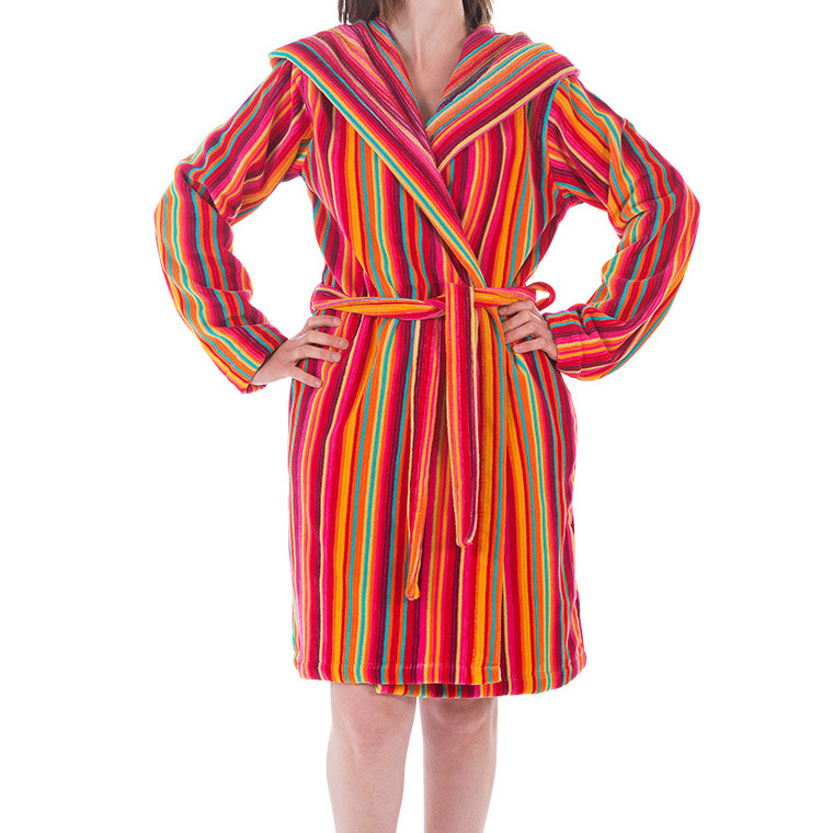 Peignoir femme rayé multicolores