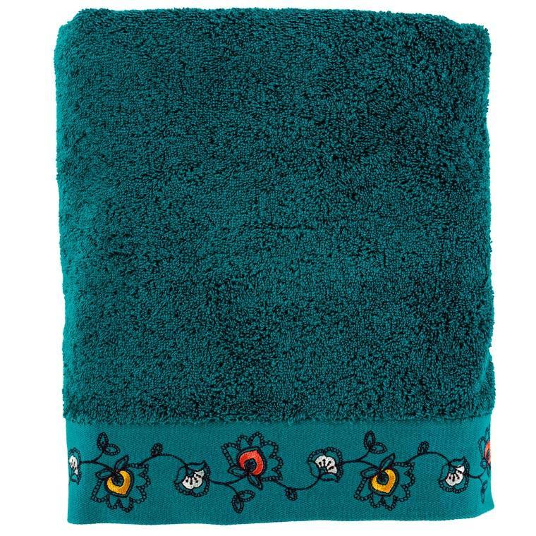 Drap de bain coton brodé floral indien Indie canard