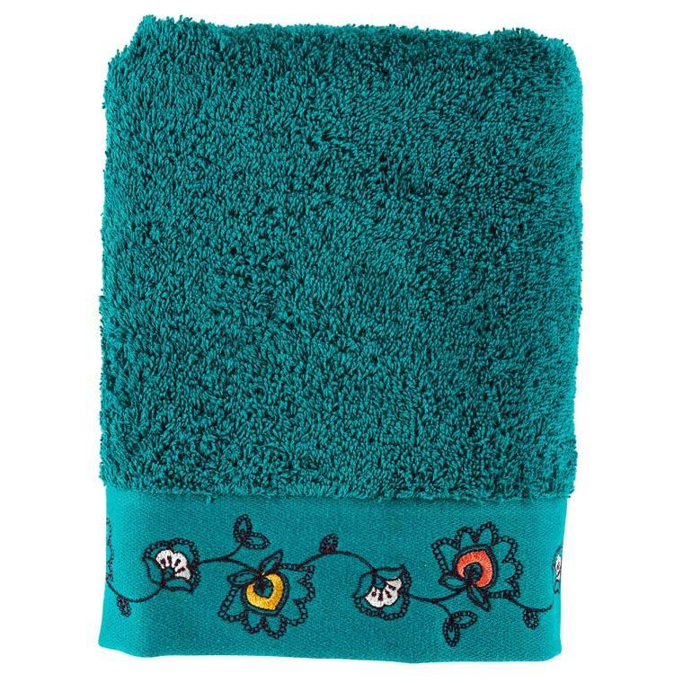 Serviette de toilette coton brodée floraI indien Indie canard