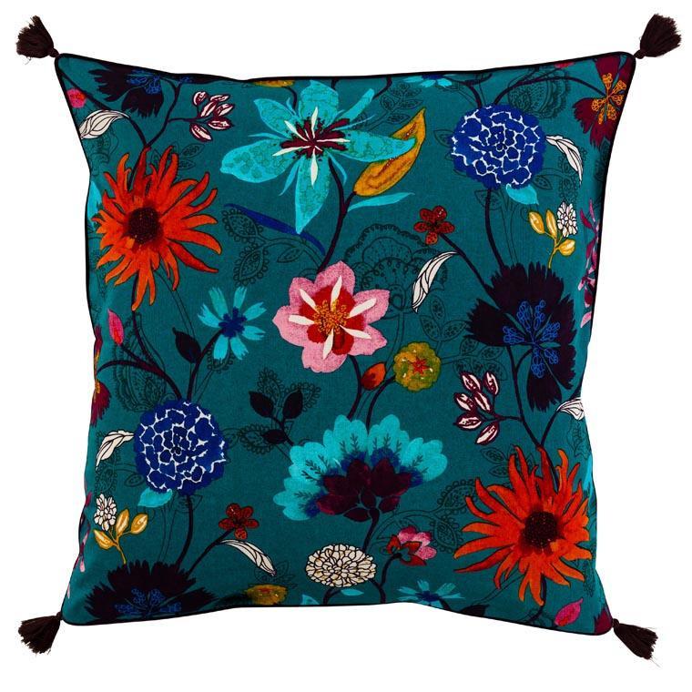 Taie d'oreiller carré lin et coton imprimé motif floral indien Indie