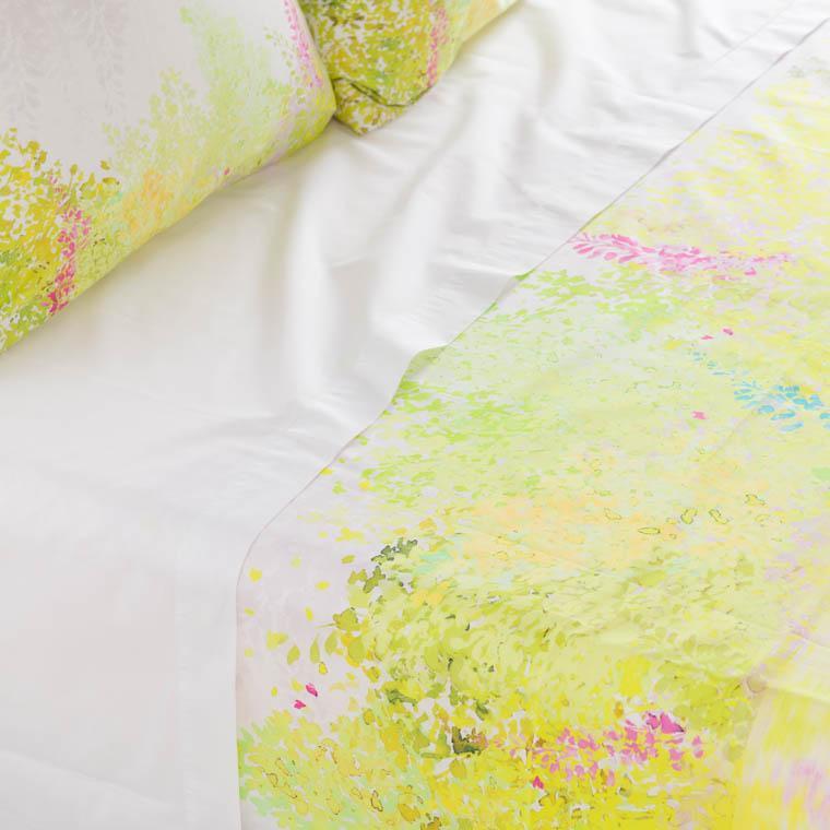 Drap de lit percale de coton imprimé paysage Infusion