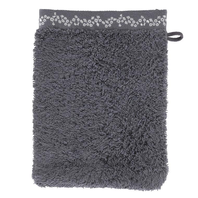 Gant de toilette bouclette de coton brodé Irina anthracite