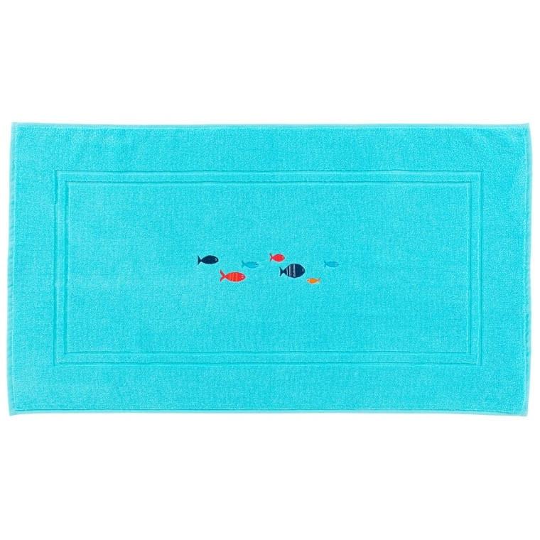 tapis de bain iroise turquoise carre blanc - Tapis Turquoise
