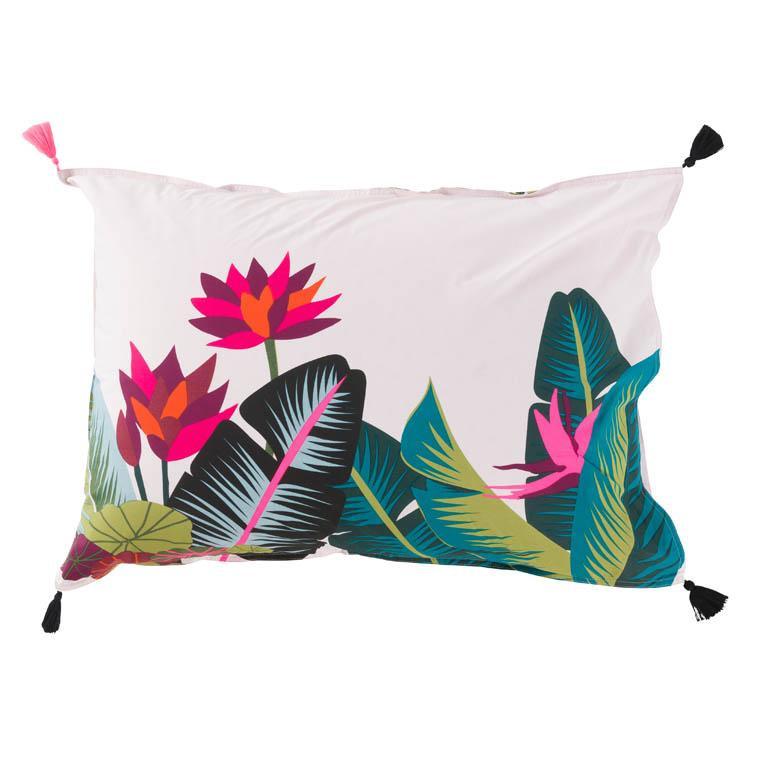 Taie d'oreiller rectangulaire imprimée fresque jungle tropicale Jalapao