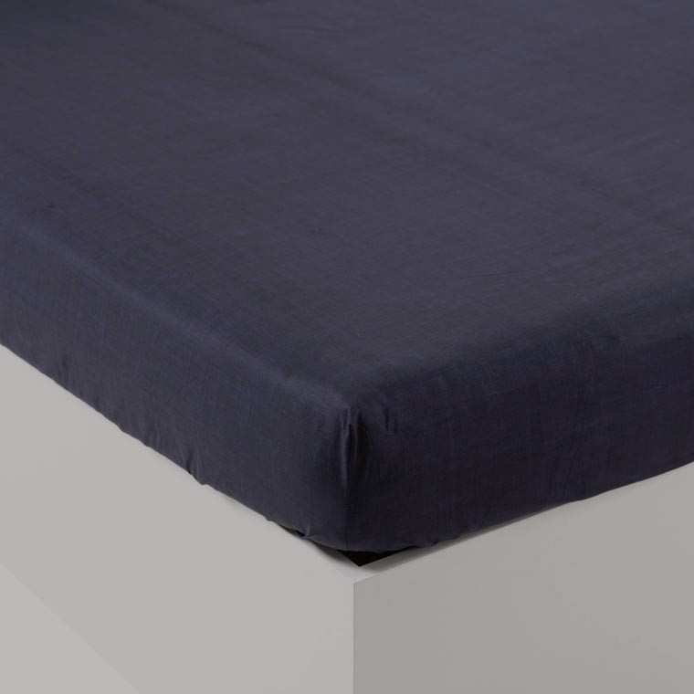 Drap housse percale de coton uni James encre