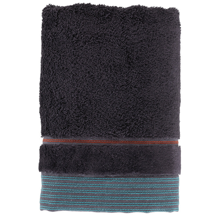 Serviette de toilette coton uni James encre