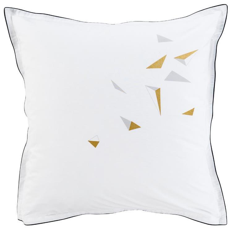 Taie d'oreiller carré  percale de coton imprimé triangle Kaleido