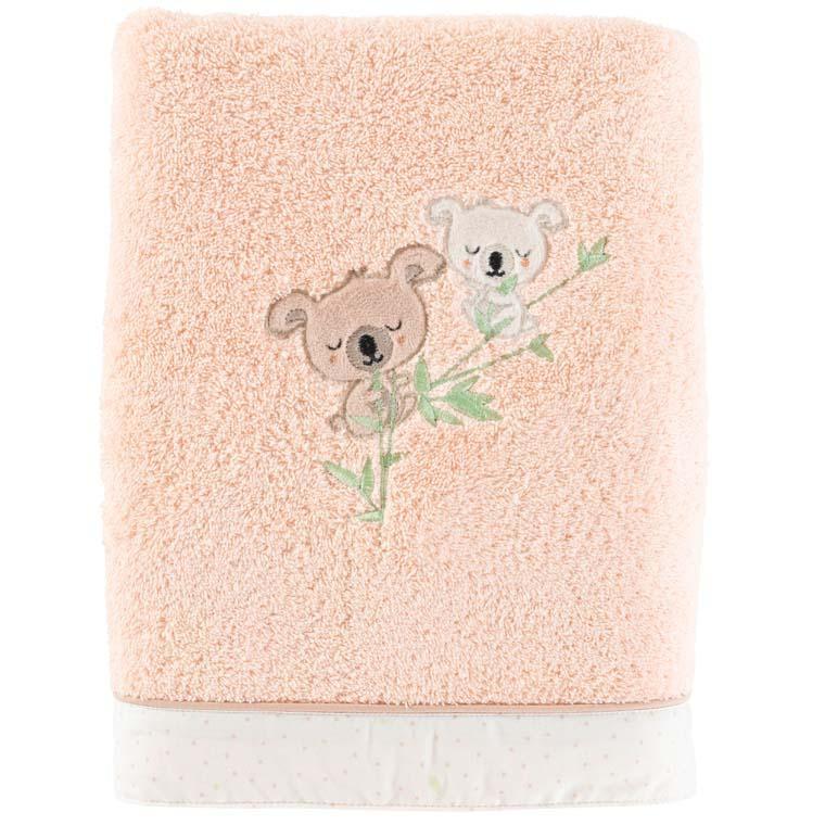 Drap de bain coton broderie koala Koalin blush