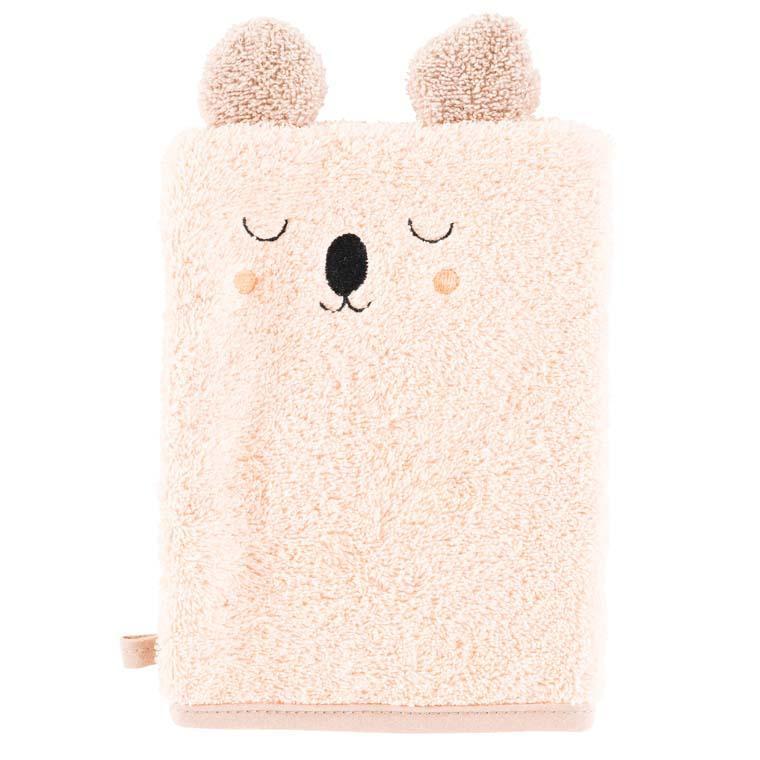 Gant de toilette coton broderie koala Koalin blush