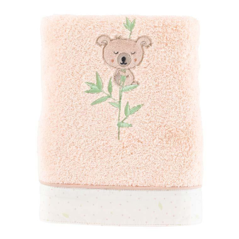 Serviette de toilette coton broderie koala Koalin blush