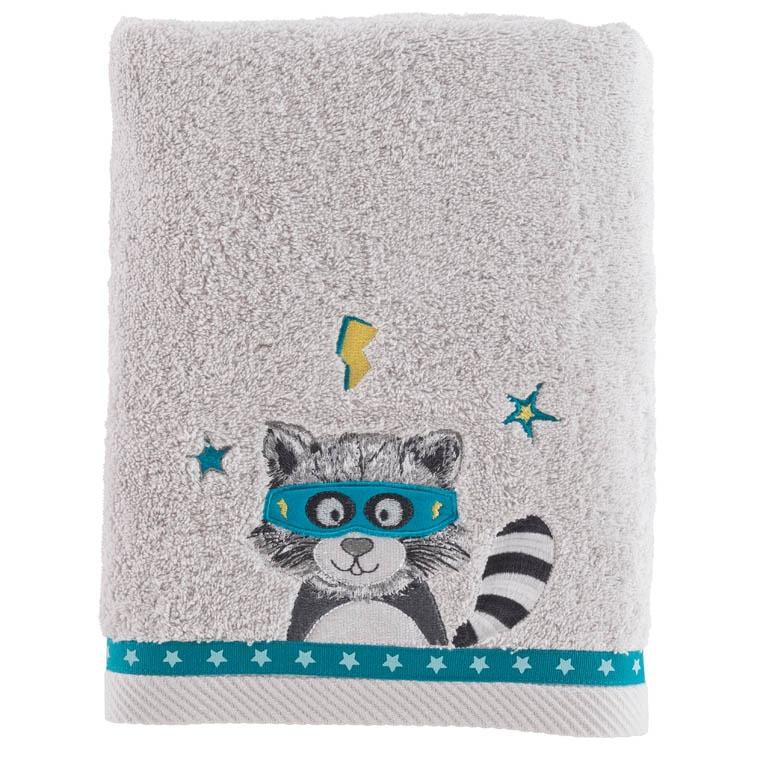 drap de bain leon gris carre blanc. Black Bedroom Furniture Sets. Home Design Ideas