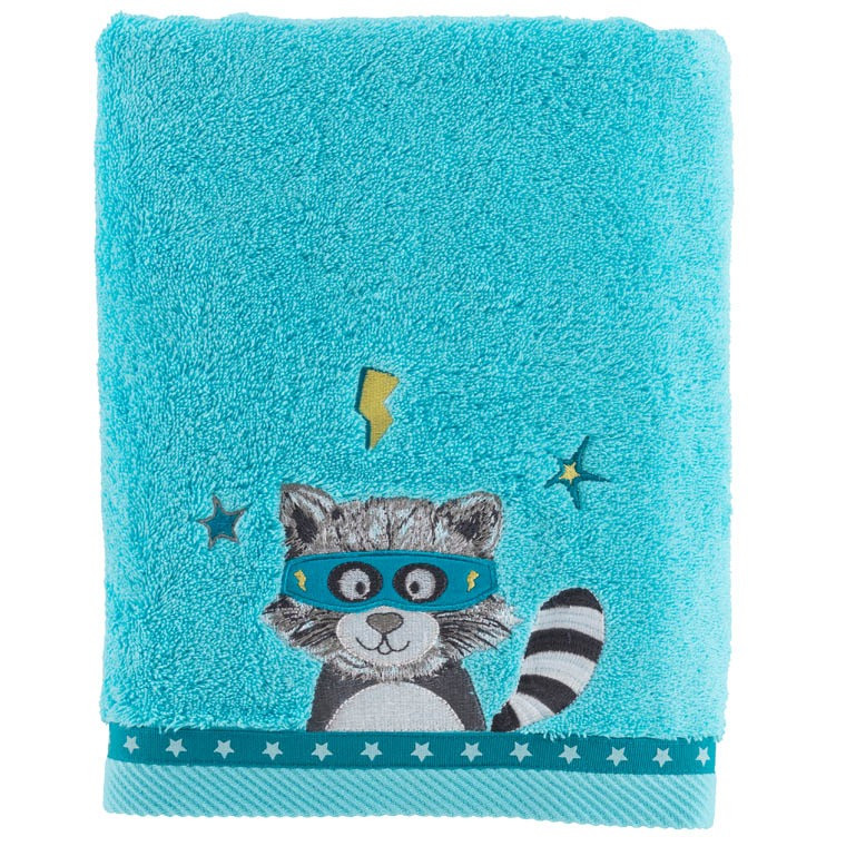 drap de bain leon turquoise carre blanc. Black Bedroom Furniture Sets. Home Design Ideas