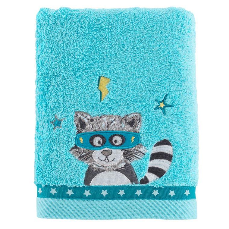 serviette de toilette leon turquoise carre blanc. Black Bedroom Furniture Sets. Home Design Ideas