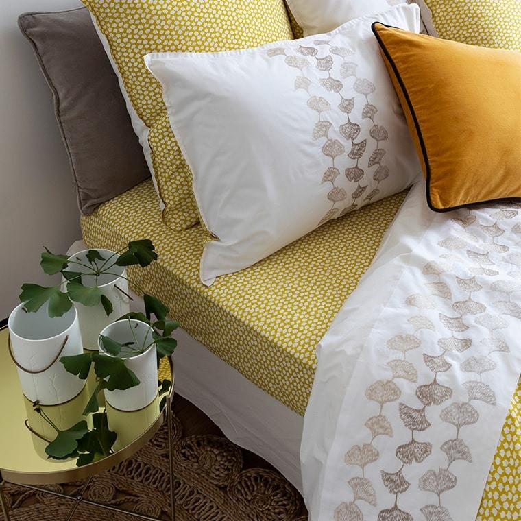 Drap de lit brodé fleuri GINKGO BLANC
