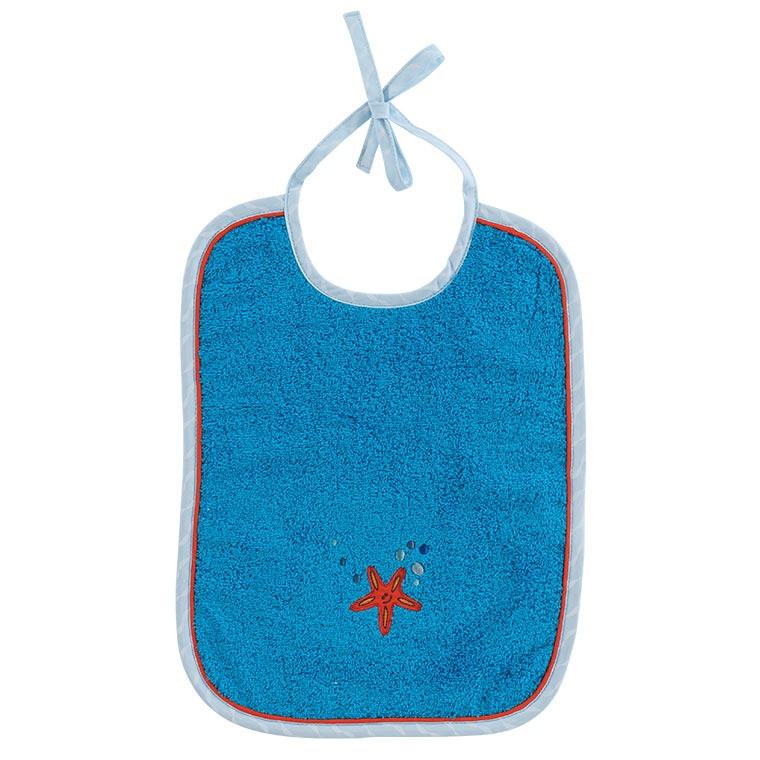 Bavoir coton brodé étoile de mer LOHAN bleu
