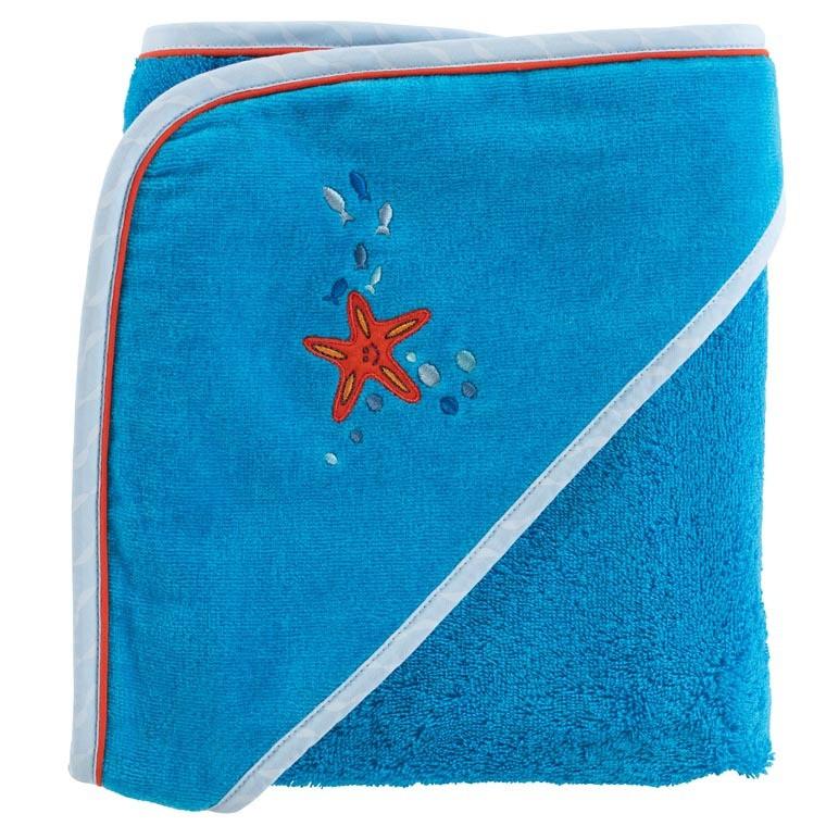 Cape de bain coton brodé étoile de mer LOHAN bleu
