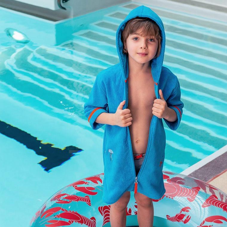 Peignoir enfant velours brodé à capuche fermeture zip LOHAN bleu