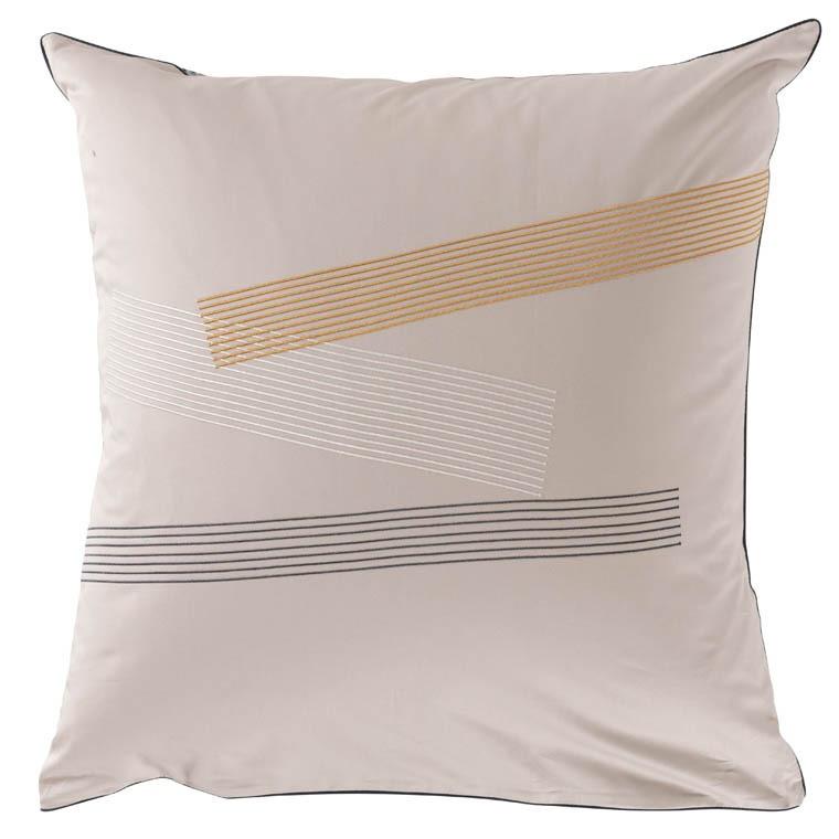 Taie d'oreiller carré satin de coton brodée Lorenzo lin