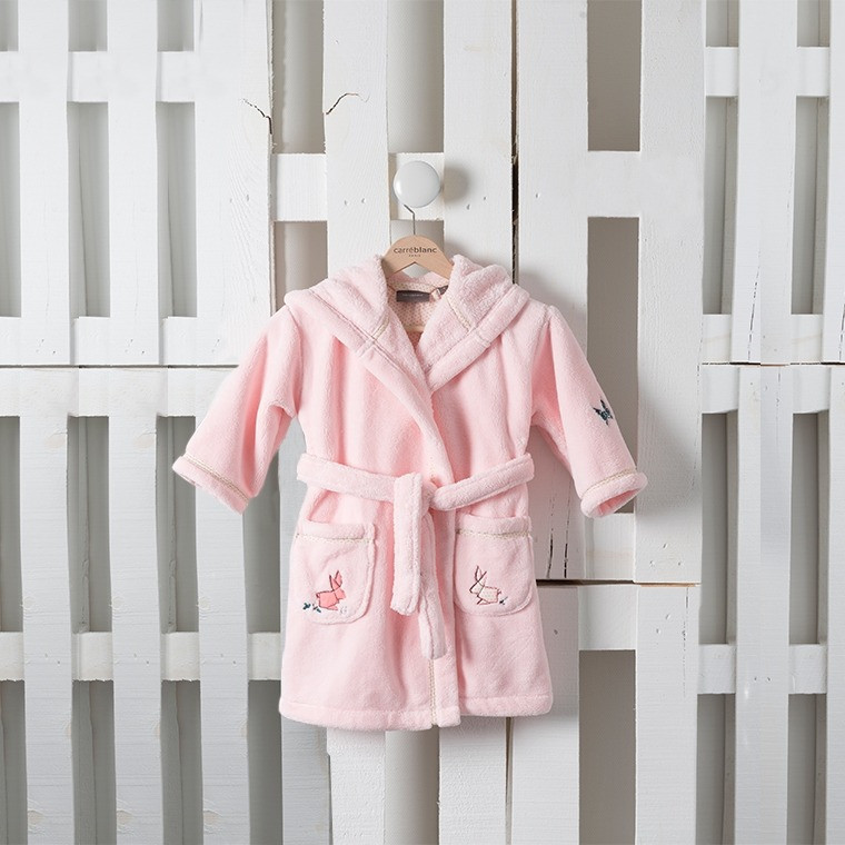 Robe De Chambre Enfant Louise Rose Carre Blanc