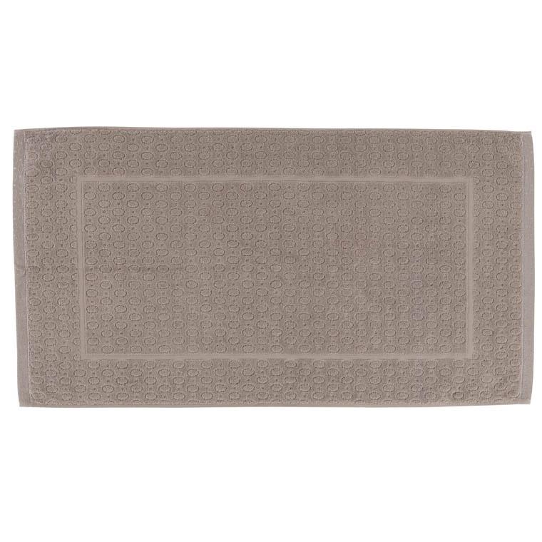 tapis de bain maestro taupe carre blanc - Tapis Taupe