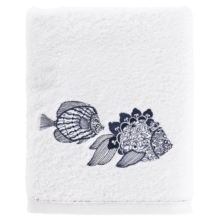 Drap de bain coton brodé poisson mandala Mahoa blanc