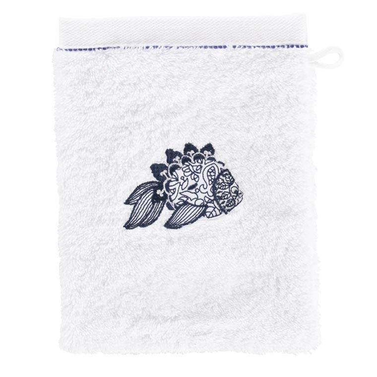 Gant de toilette coton brodé poisson mandala Mahoa blanc