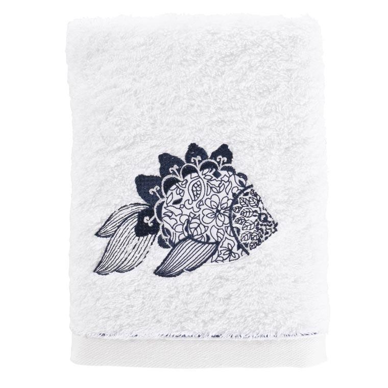 Serviette de toilette coton brodé poisson mandala Mahoa blanc