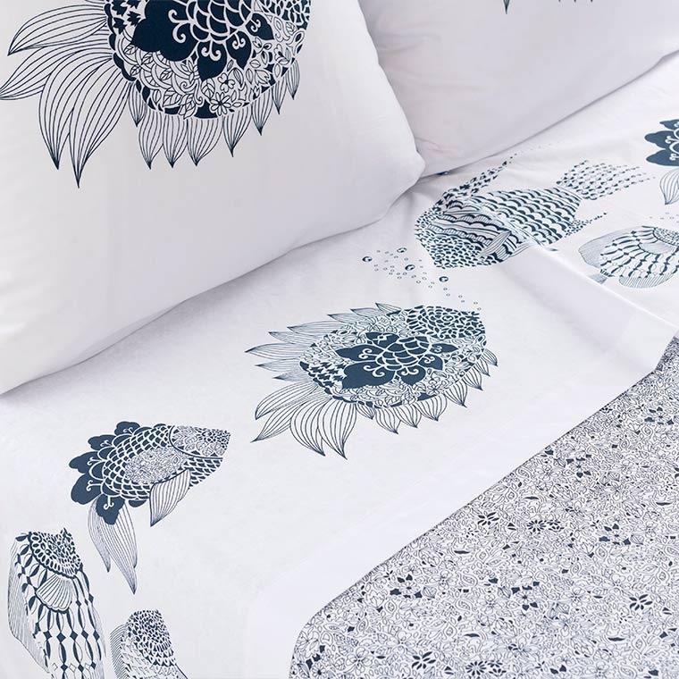 Drap de lit percale de coton poisson mandala Mahoa
