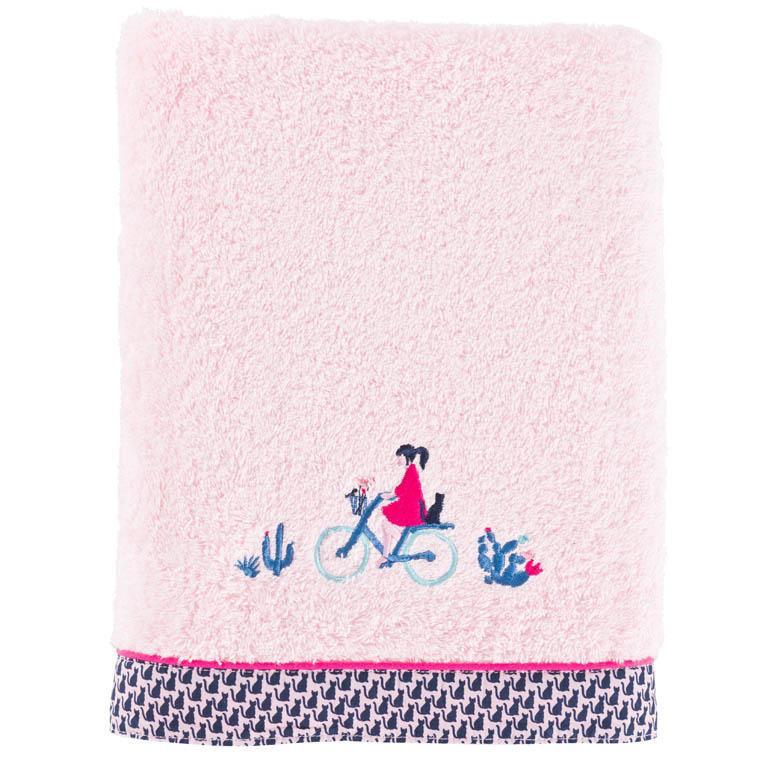 Drap de bain bouclette de coton brodé graphique Manarola rose