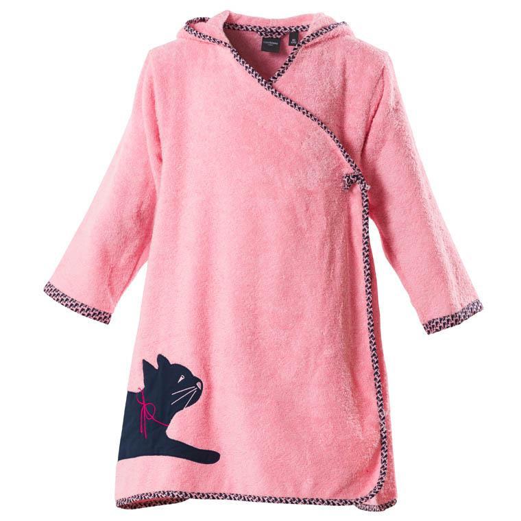 Peignoir enfant bouclette de coton brodé chat Manarola rose