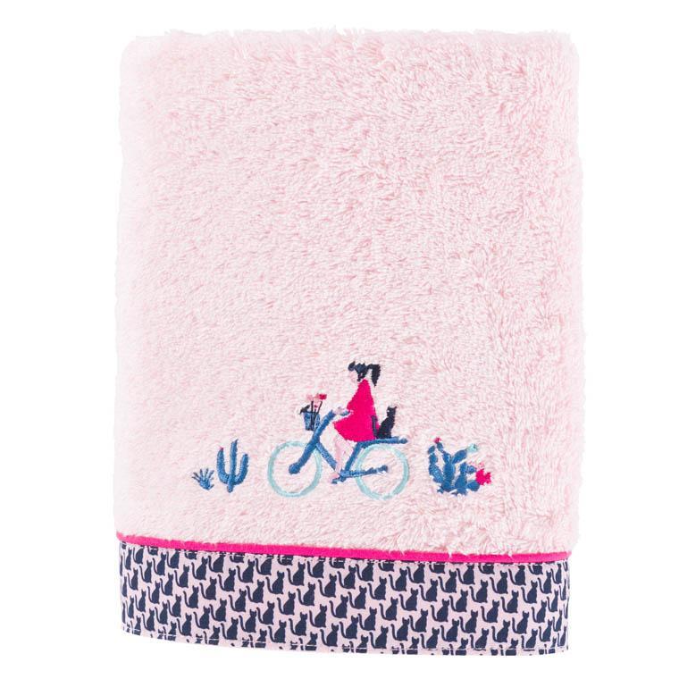 Serviette de toilette bouclette de coton brodée graphique Manarola rose
