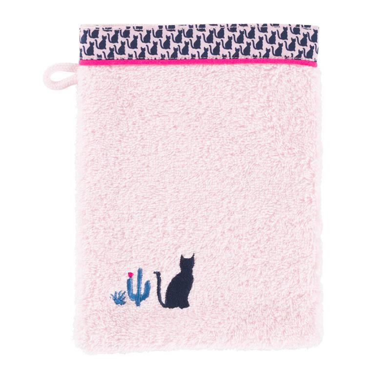 Gant de toilette bouclette de coton brodé chat Manarola rose