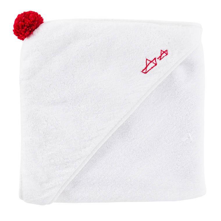 Cape de bain à rayures bouclette jacquard de coton brodée origami Marin blanc