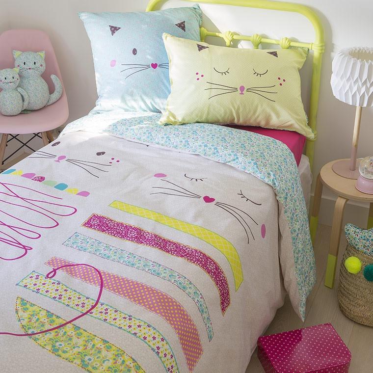 parure de lit mia parures de lit enfant carre blanc. Black Bedroom Furniture Sets. Home Design Ideas
