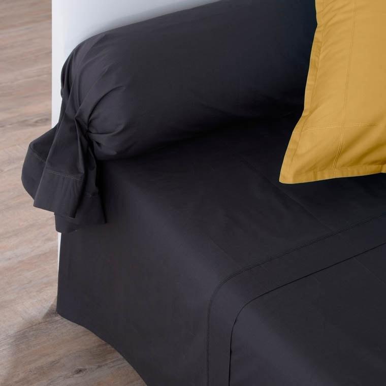 Drap de lit percale de coton Neo anthracite