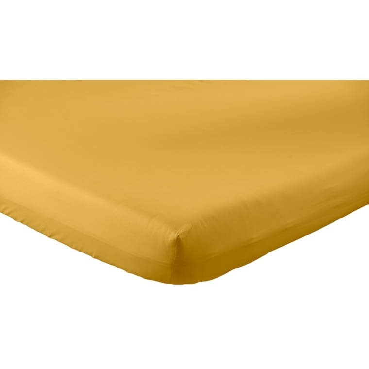 Drap housse percale de coton Neo curry