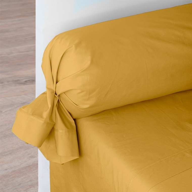 Taie de traversin percale de coton Neo curry