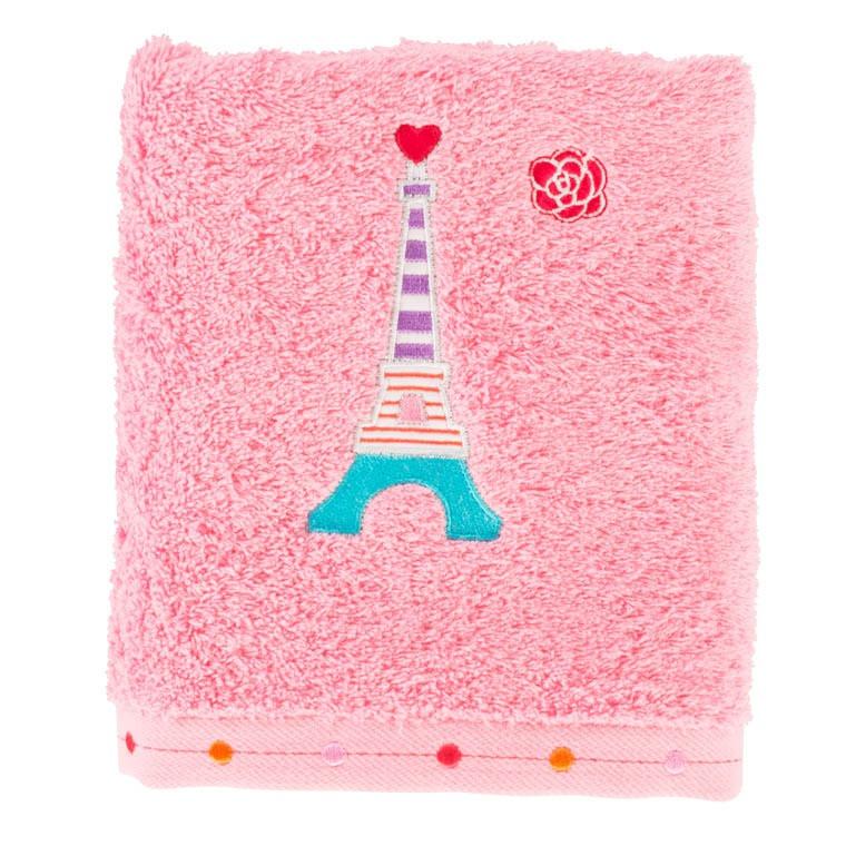 serviette de toilette ohlala rose carre blanc. Black Bedroom Furniture Sets. Home Design Ideas