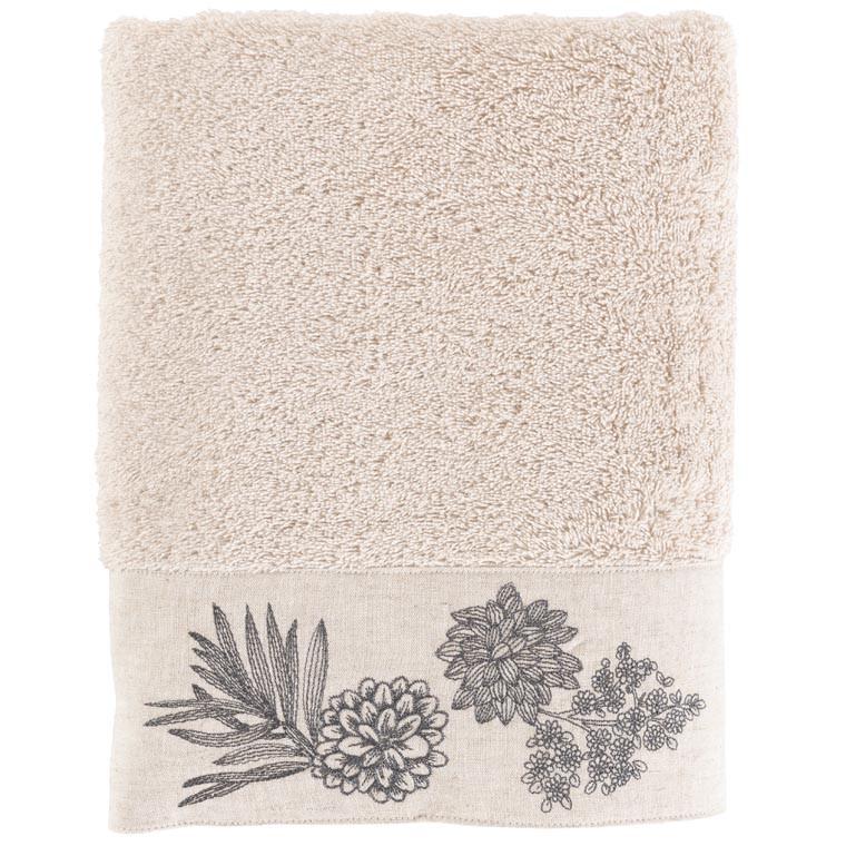 Drap de bain coton brodé végétal PANDYA lin