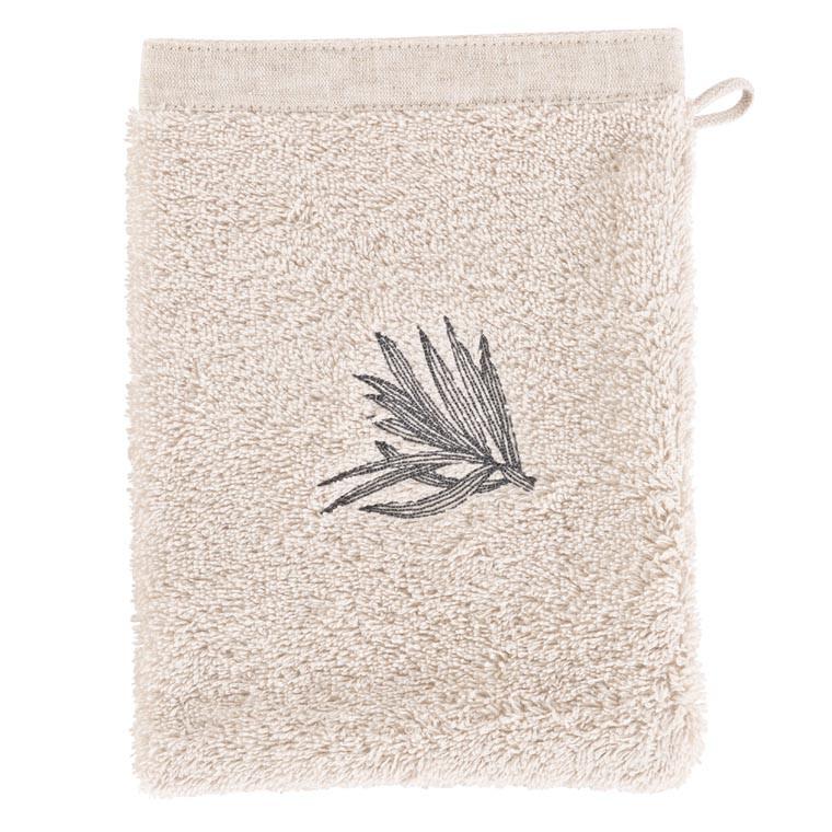 Gant de toilette coton brodé végétal Pandya lin