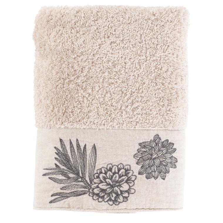 Serviette de toilette coton brodé végétal Pandya lin