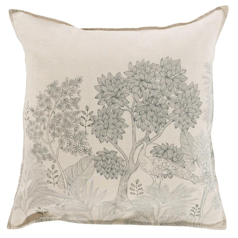 Taie d'oreiller carré lin coton forêt indienne PANDYA
