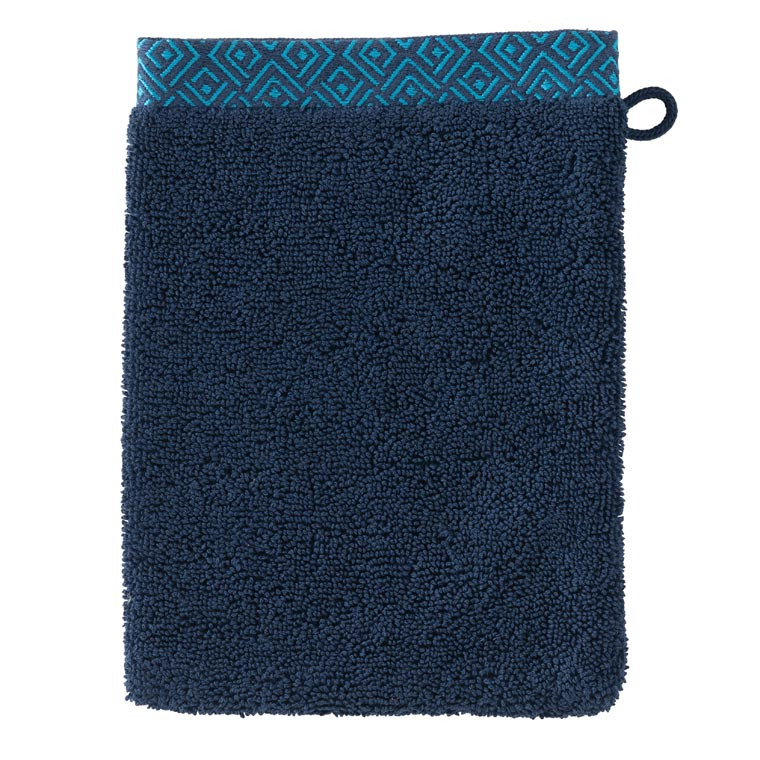 Gant de toilette coton géométrique Paros bleu marine