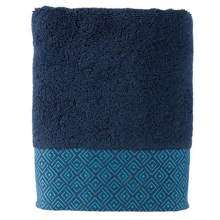 Serviette de toilette coton géométrique Paros bleu marine