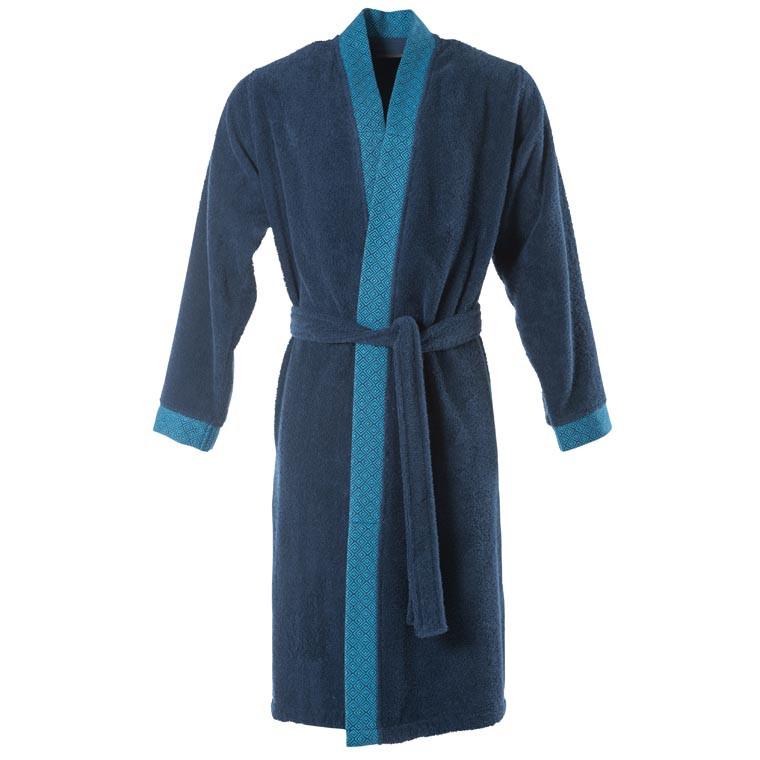 Peignoir homme coton kimono Paros marine