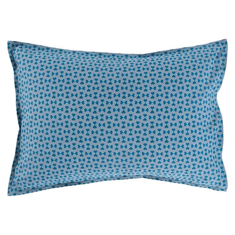 Taie d'oreiller rectangulaire coton géométrique bleu PAROS