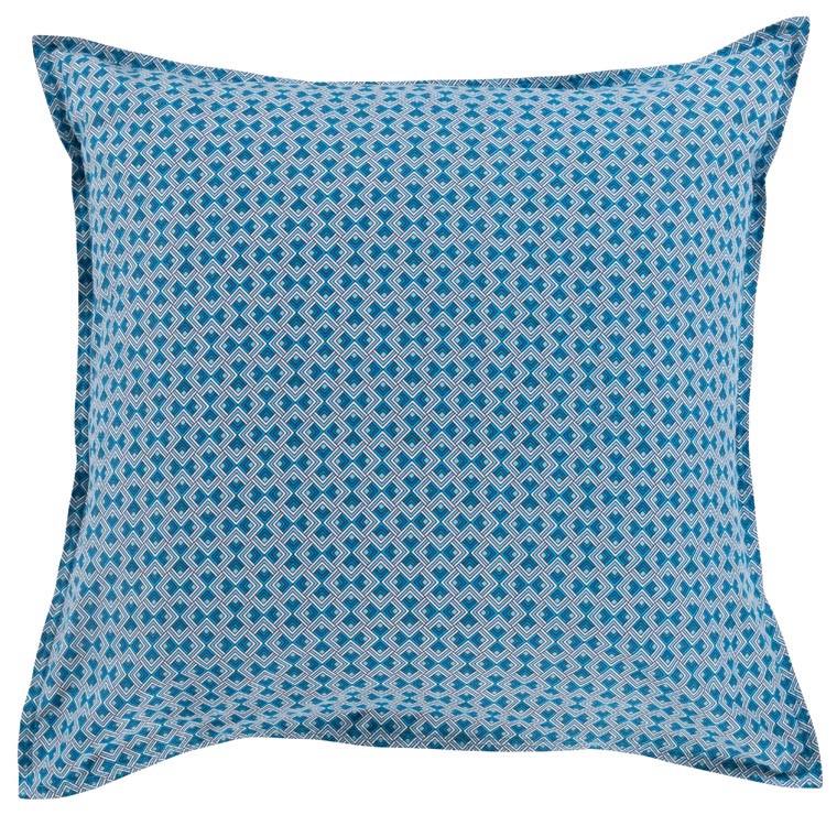 Taie d'oreiller carré coton géométrique bleu PAROS