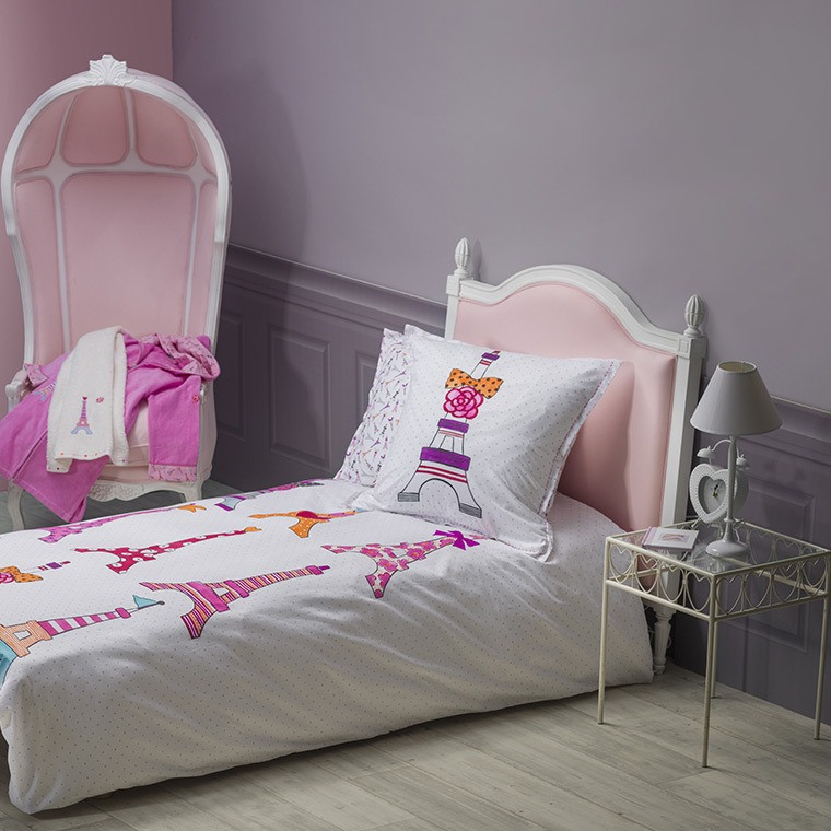 housse de couette enfant fantaisie imprim s tour eiffel carr blanc. Black Bedroom Furniture Sets. Home Design Ideas