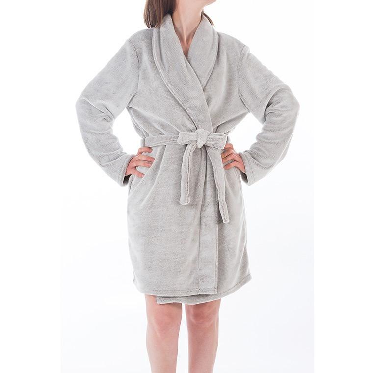robe de chambre femme en polaire polyester ivoire | carré blanc