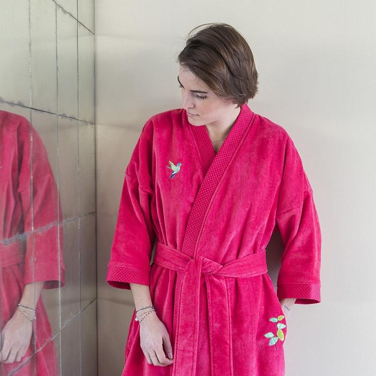 Framboise Femme Blanc Manaus Carre Peignoir zpUGVqSM